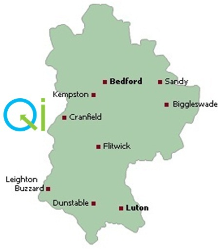 map of bedfordshire with QI logo